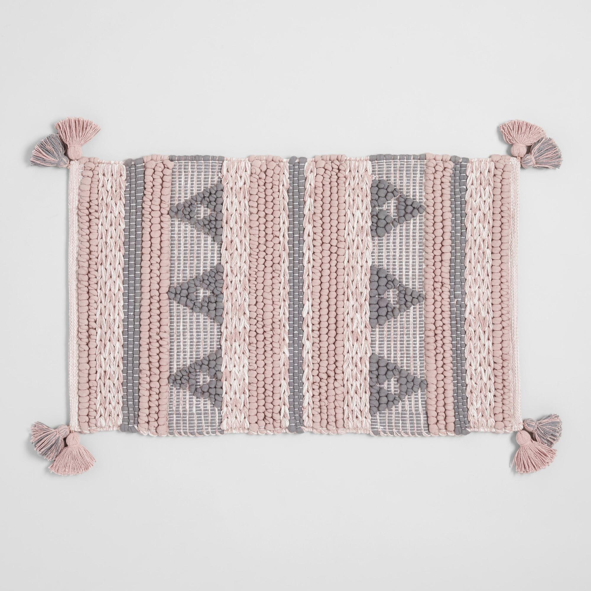 Blush And Gray Geometric Chunky Tassel Bath Mat Pink Cotton By World Market Blush And Grey Bath Rugs Sets Bath Rugs