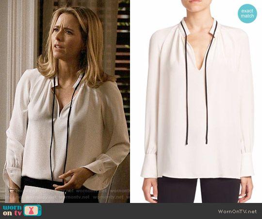 d4792143651b Elizabeth's white blouse with black tie neck on Madam Secretary. Outfit  Details: https: