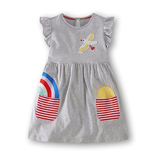 590e672afde MIQI Baby Girls Cotton Casual Short Sleeve Dress (Gray