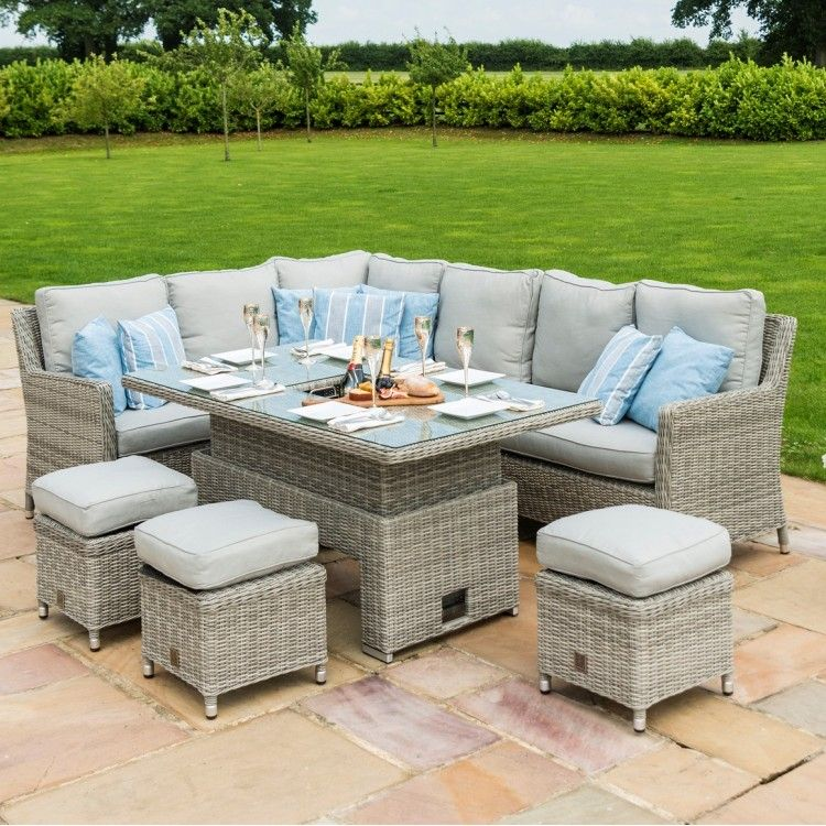 Maze Rattan Oxford Venice Corner Ice Bucket Set With Rising Table Corner Dining Set Rattan Garden Furniture Rattan Corner Dining Set
