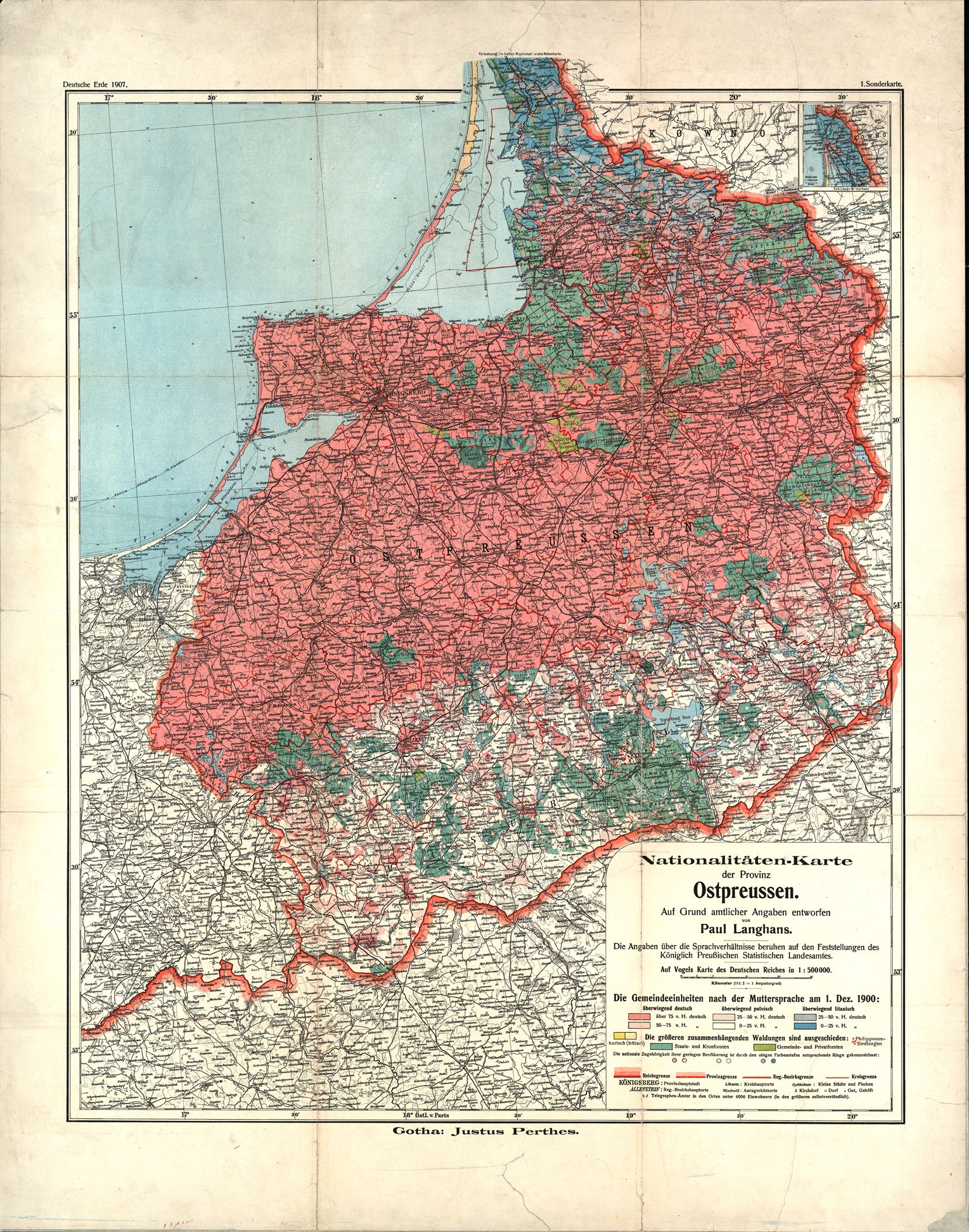 Language map of East Prussia in 1914
