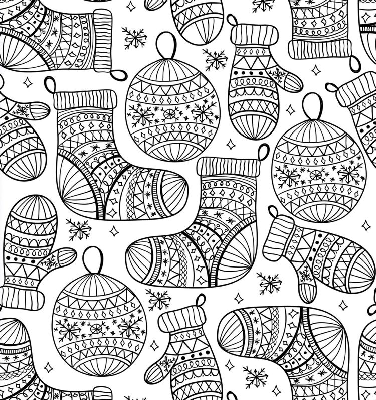 Zentangle Vorlagen mit Weihnachtsmotiven für Karten und