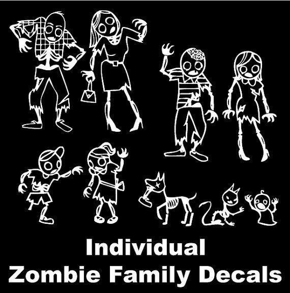 Zombie family decal car decal window decal individual zombie car stickers on etsy 1 96 cad