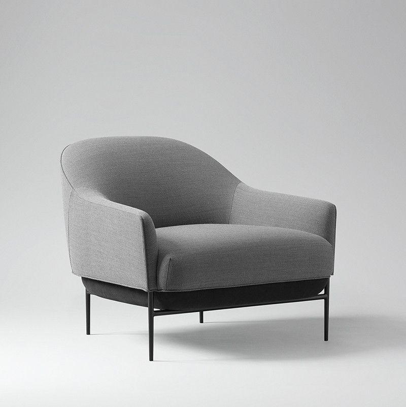 Single Sofa Set Designs: Lounge Chair Design, Grey Fabric