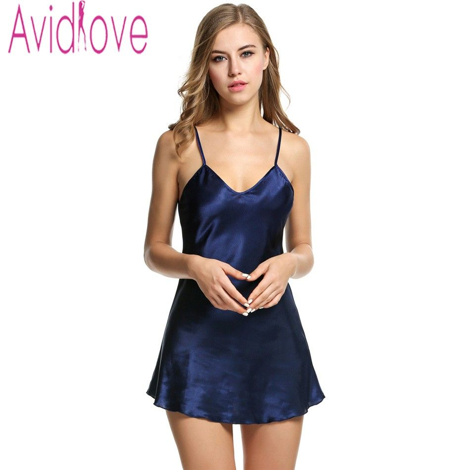 c71fab57b63b Avidlove Brand Summer Stain Nightgown Women Sleepwear Sexy Stain Nightdress  V Neck Strap Solid Nightwear Female Home Cloth S-XXL