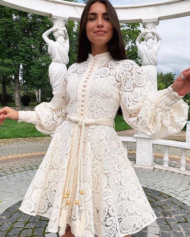 فستان ابيض قصير دانتيل بياقة مدورة Miss Fashion X Summer Dresses Mini Dress Lace Mini Dress