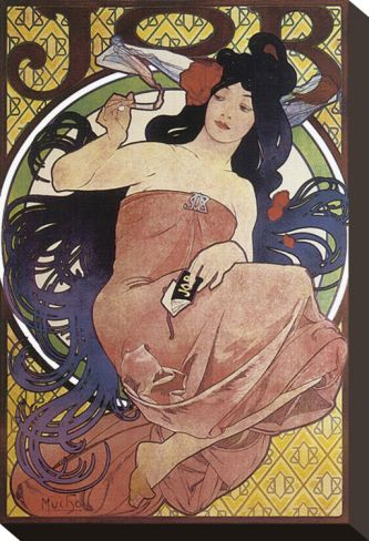 JOB stretched canvas print by Alphonse Mucha. (1898) Art nouveau 102NZD at Art.com