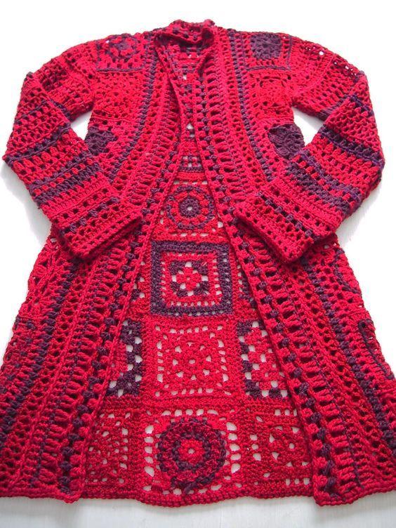 Muster der Kleidung mit Häkeln Quadraten | granny squares ...