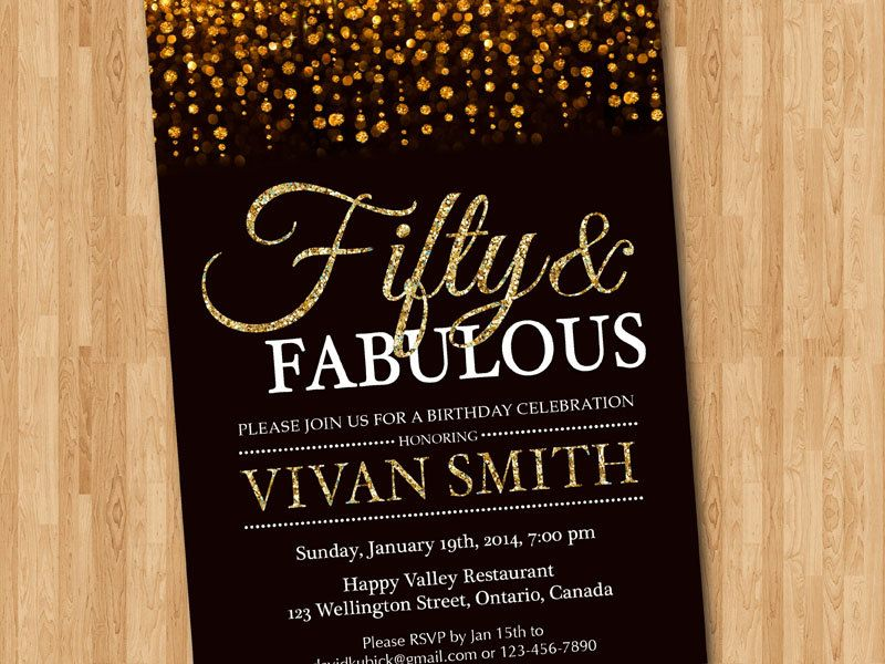 fifty and fabulous. golden 50. gold glitter glam birthday invite, Party invitations