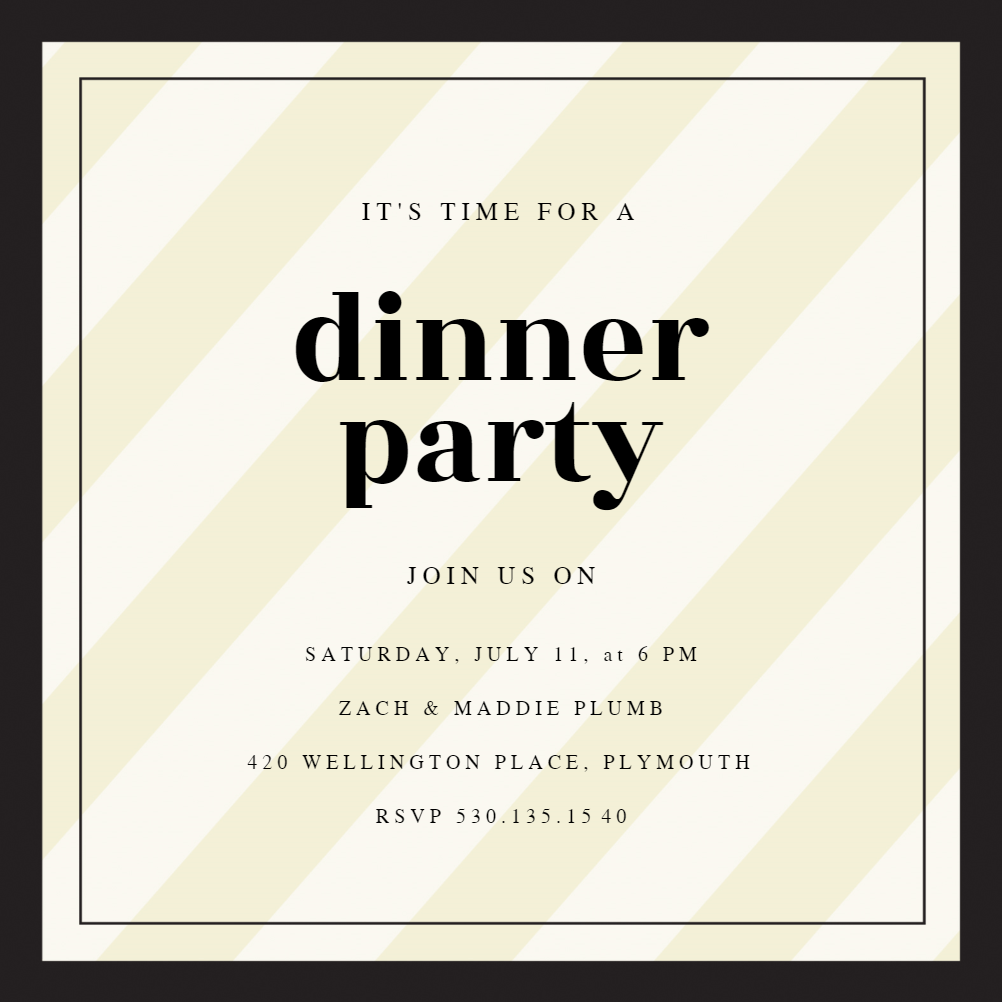 Clean and Classic - Dinner Party Invitation Template (Free