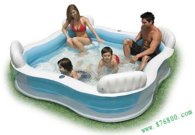 Inflatable Swimming Large Family Sized Paddling Pool With 4 Seats Drinks Holders