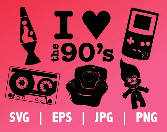 b8ed31238d2 I LOVE THE 90 s SVG cut files for 90s parties and vinyl stickers ...