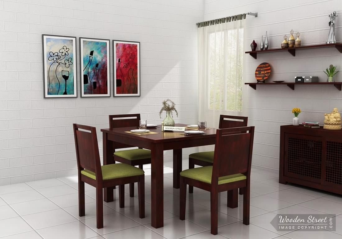 Buy Orson 4 Seater Dining Set Mahogany Finish Online In India Wooden Street 4 Seater Dining Table Dining Table Setting Modern Dining Table