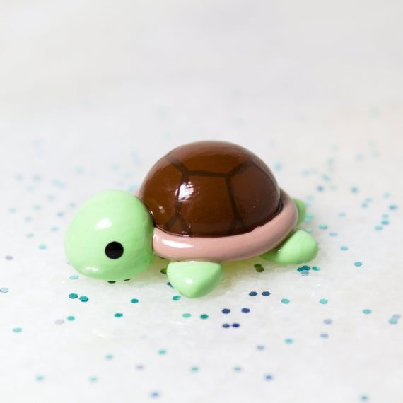 Photo of Chubby Sea Turtle Figurine – Polymer Clay Figures – Animal Lover Gift – Polymer Clay Sculpture