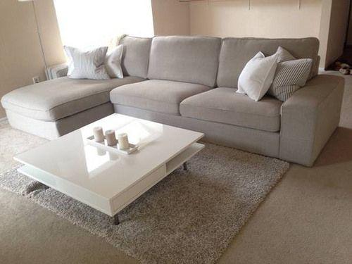 IKEA Kivik In Teno Light Grey, White Tofteryd Coffee Table, Hampen Rug