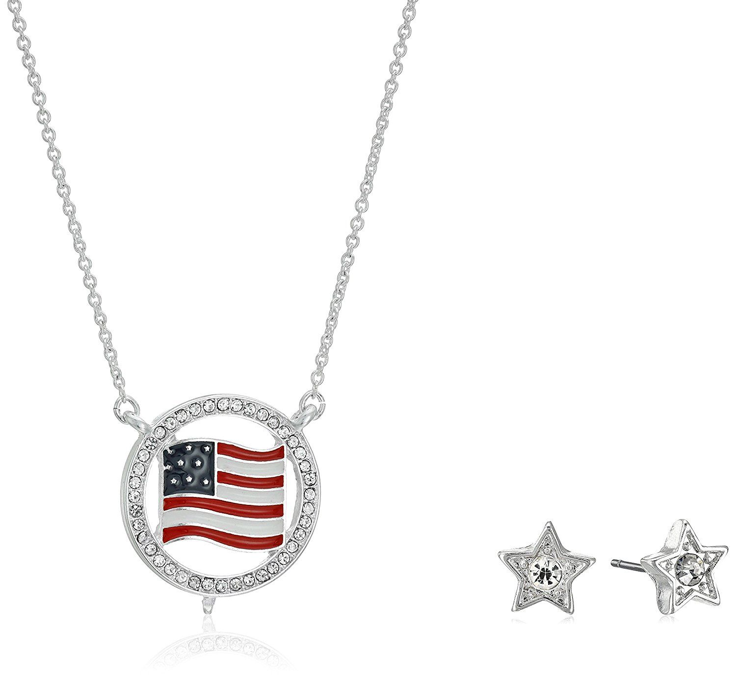 Napier ugift boxu boxed silvertone red and blue patriotic necklace