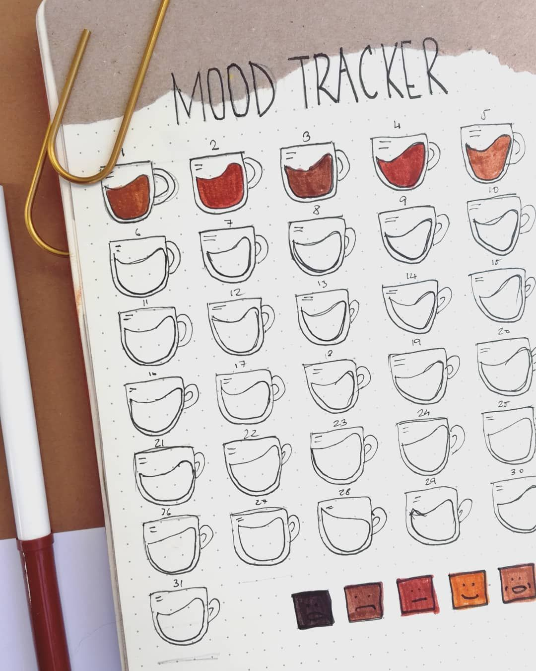 """Photo of Another.Bullet.Journaling on Instagram: """"October coffee mood tracker. Probably my favorite I've done so far❤  #bulletjournaloctober #bulletjournaling #bulletjournal…"""""""