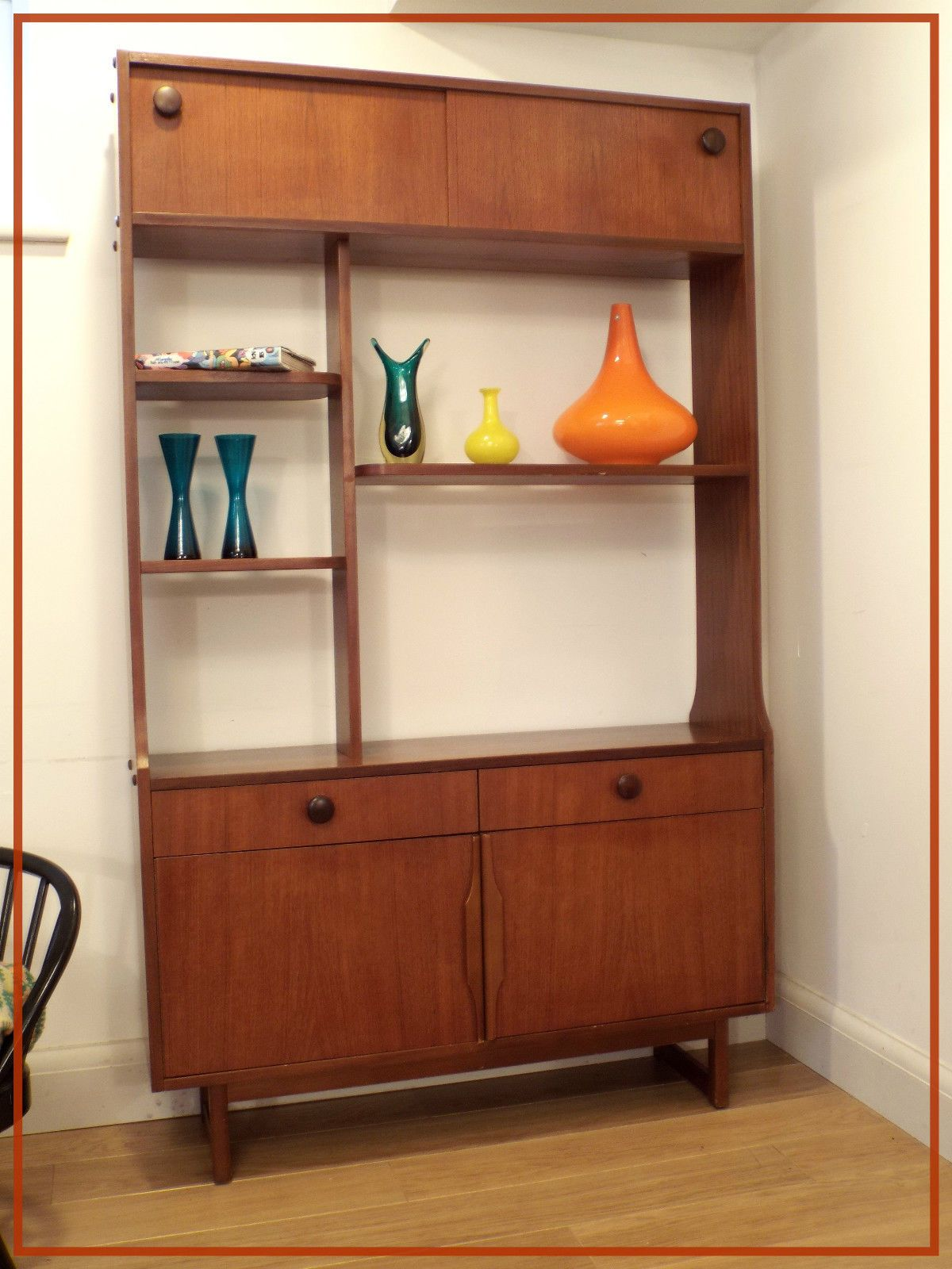 Retro Vintage Teak Shelf Room Divider Sideboard Mid Century Modern Danish