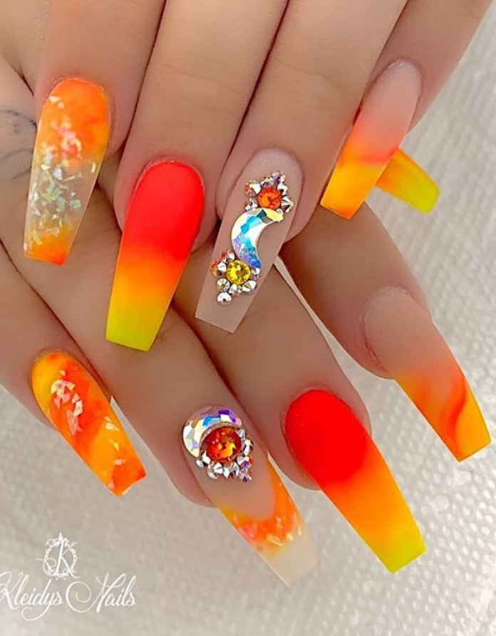 56 Trendy Summer Acrylic Coffin Nails Design And Color Ideas Page 49 Of 56 Latest Fashion Trends For Woman In 2020 Coffin Nails Designs Orange Nail Art Elegant Nail Art