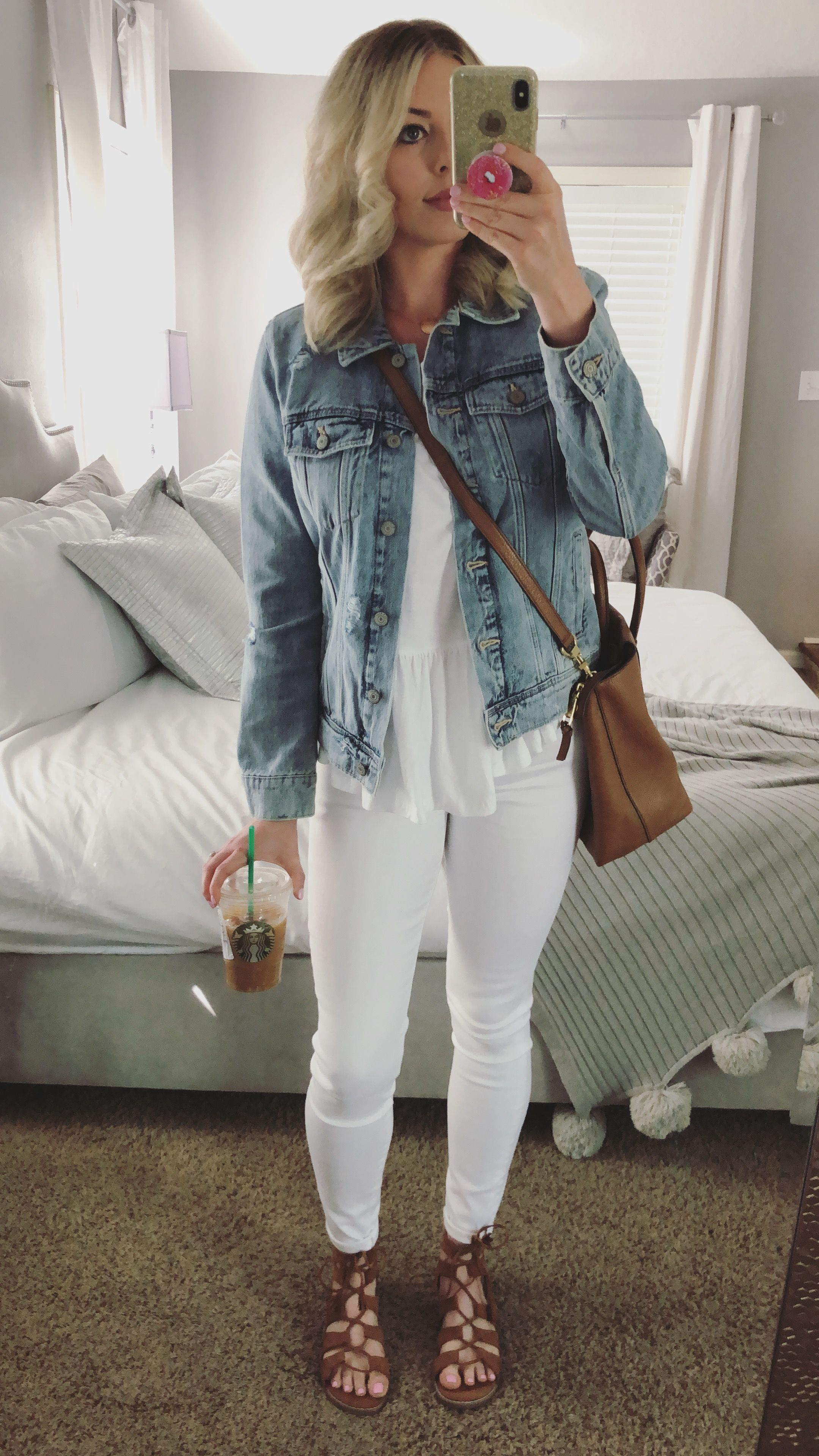 Spring Outfit Idea Light Denim Jacket With White Jeans All White With Denim Outfit Idea Light Denim Outfit Light Denim Jacket Light Denim