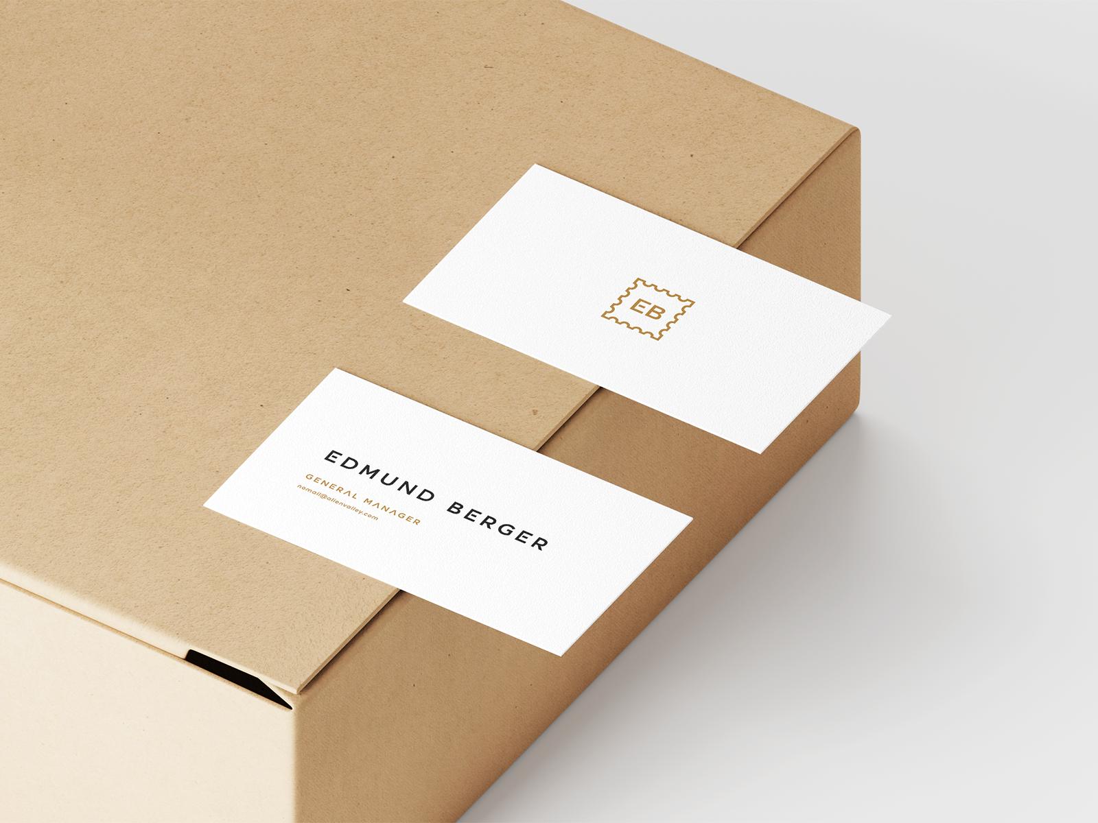 Freebie Business Cards On Box Mockup Box Mockup Download Business Card Free Business Cards