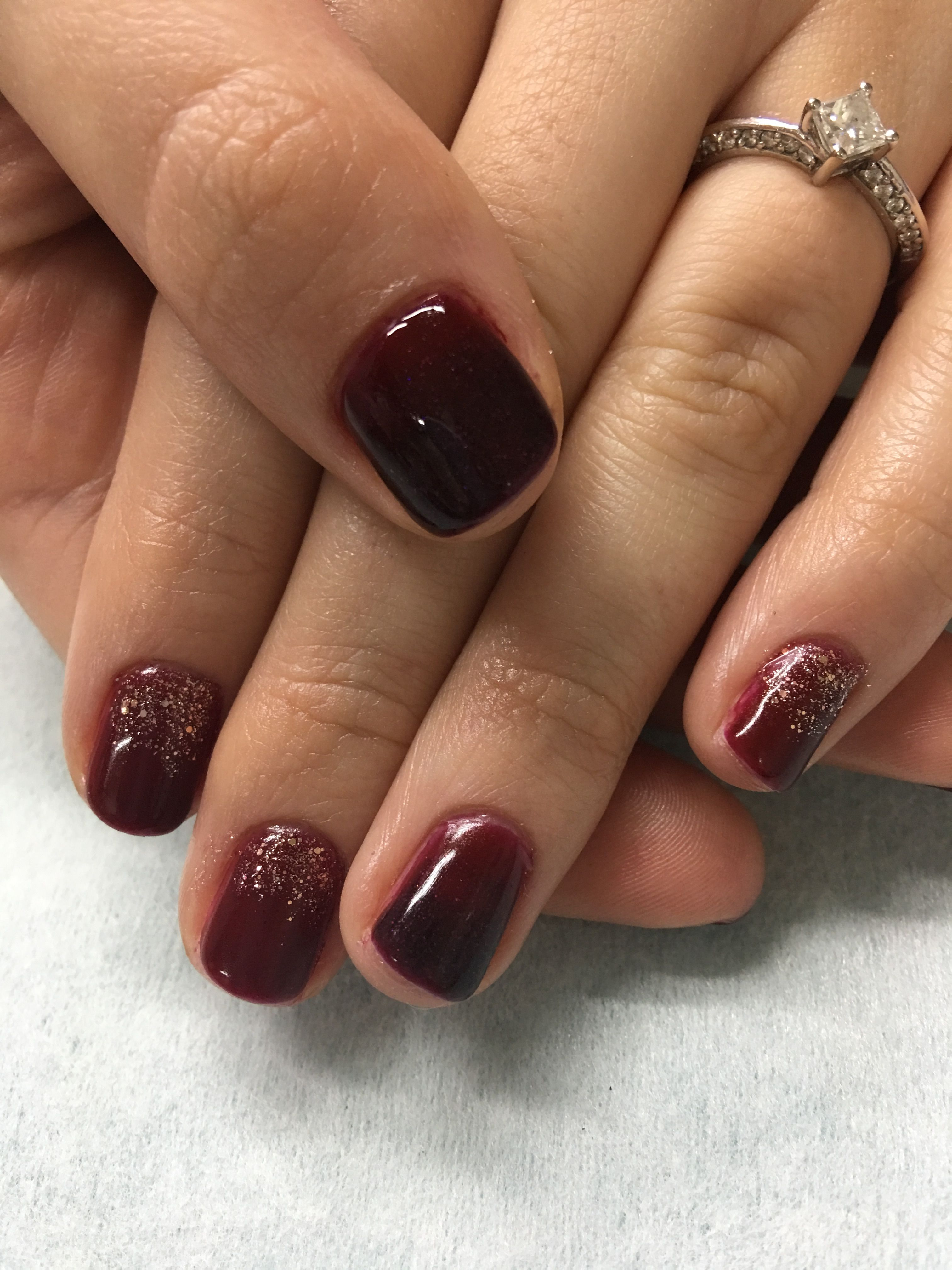 Fall Burgundy Gradient And Gold Glitter Gel Nails Glitter Gel Nails Burgundy Nail Art Square Nails