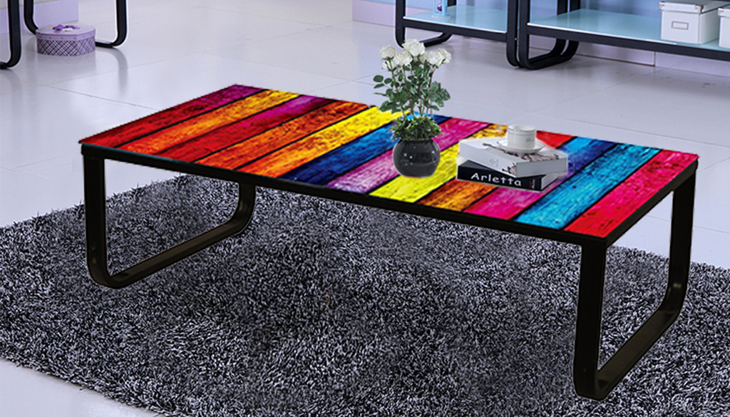 Multi Colour Coffee Table London New York Rainbow Car Pattern Top Model Fast And Free