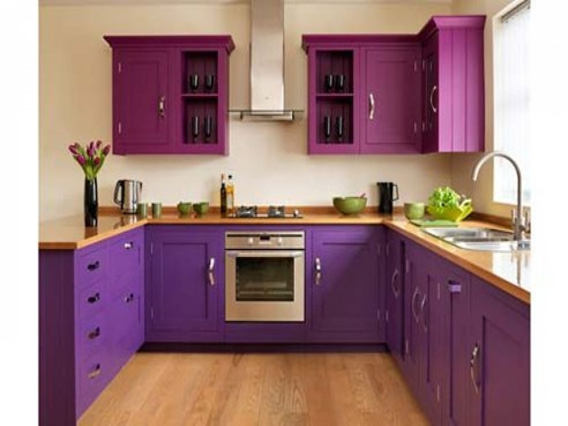 Kitchen Design Ideas In Purple Theme With Orchid Purple Wall Mounted ...