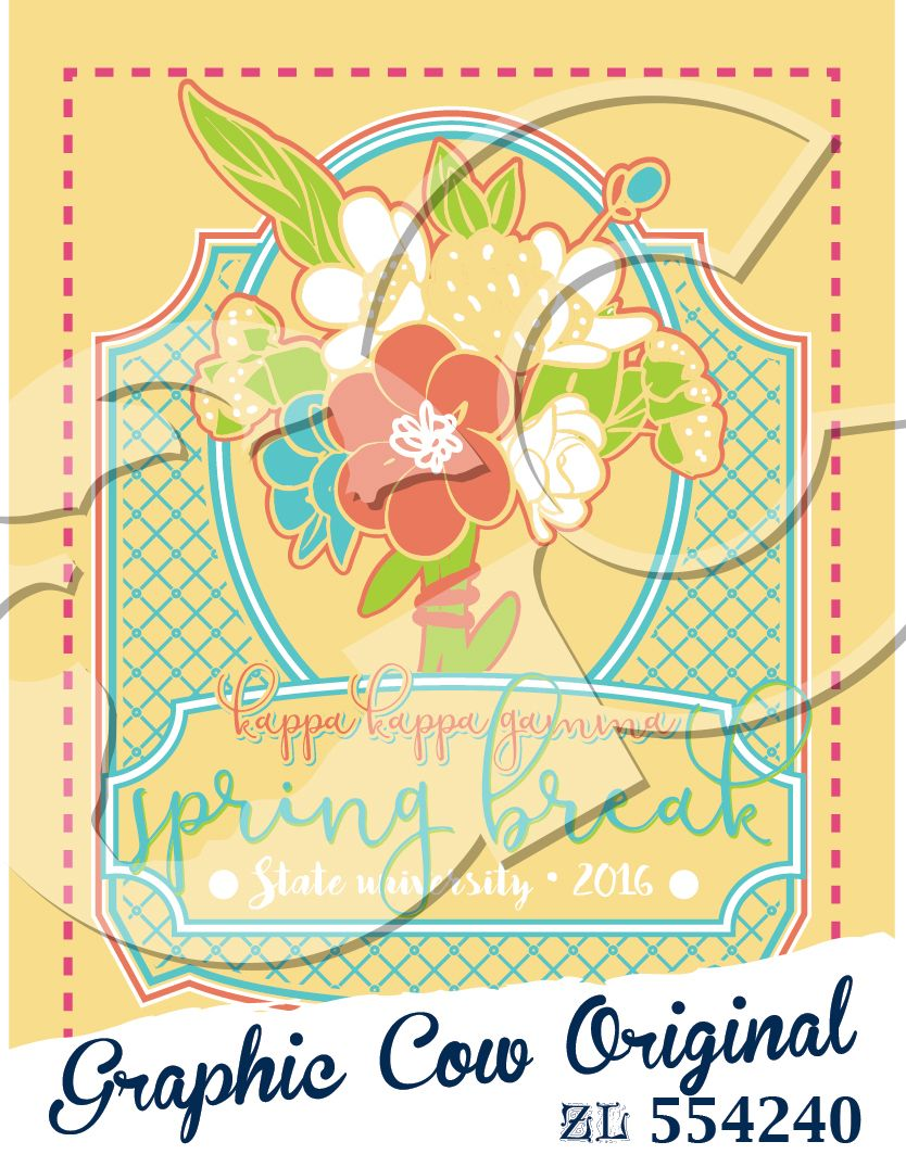 Spring Break Flowers Lattice Frame Sorority Grafcow Sorority Pr