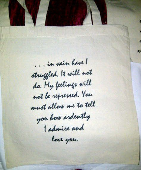 Mr Darcy's Proposal Tote Bag  Pride & Prejudice by missbohemia, $11.00