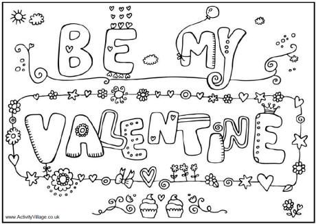 Free be my valentine cards printable coloring pages for kids free online activities crafts for kids valentines day to print out card
