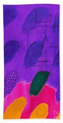 Abstract Beach Towel featuring the painting Purple Finger Prints by Noa Yerushalmi