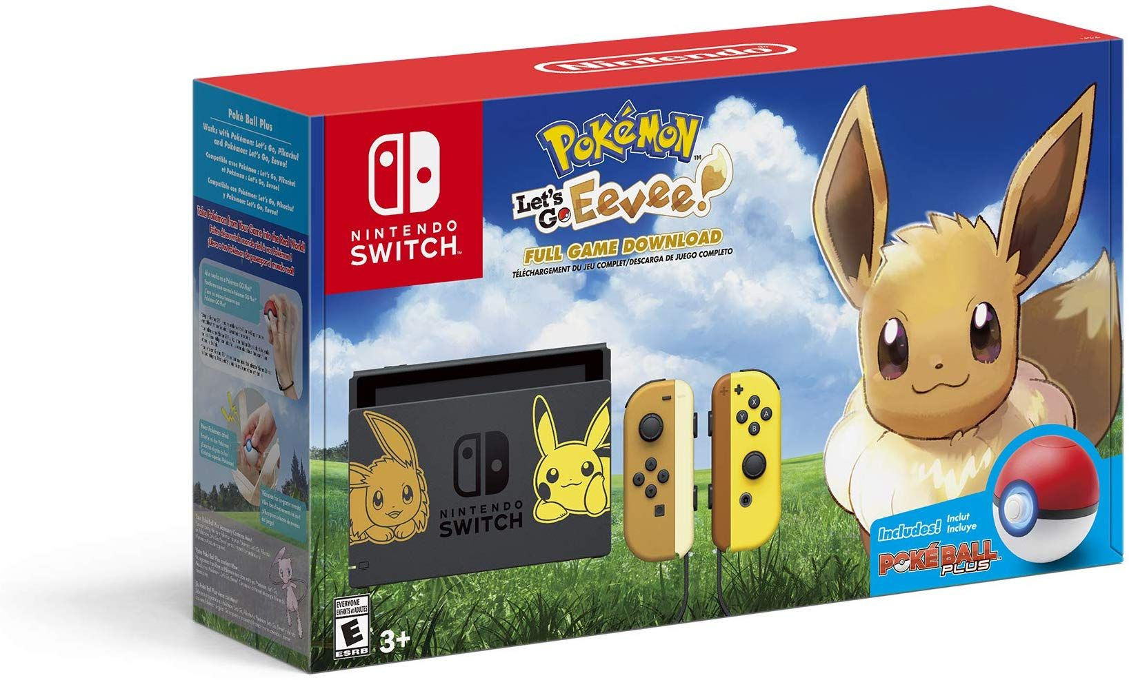 Amazon Com Nintendo Switch Console Bundle Pikachu Eevee Edition With Pokemon Let S Go Eevee Poke Ball Plus Electronics Pokemon Nintendo Switch Eevee