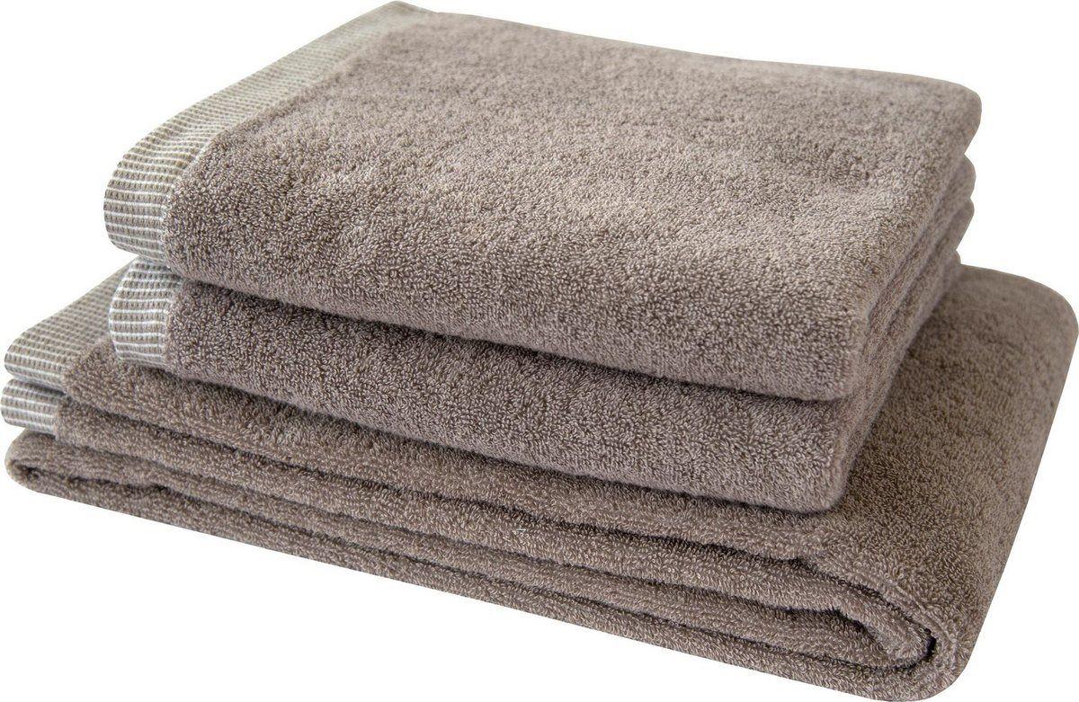 Handtuch Set Nadelstreifen Mit Gemustertem Saumabschluss