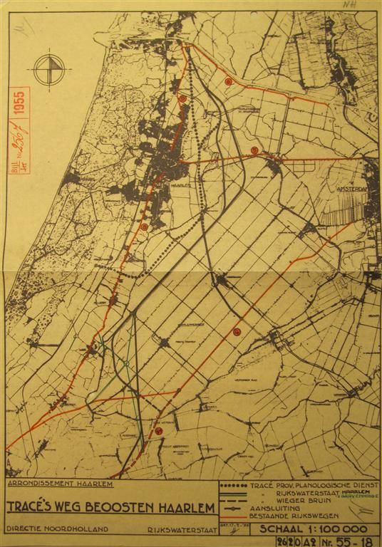 Tracés Weg Beoosten Haarlem in 1955. Klik op de tekening voor vergroting. Tekening: Rijkswaterstaat. Bron:[2]