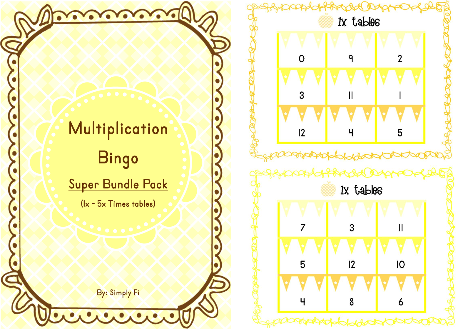 Multiplication Bingo A 5 In 1 Super Bundle That Includes