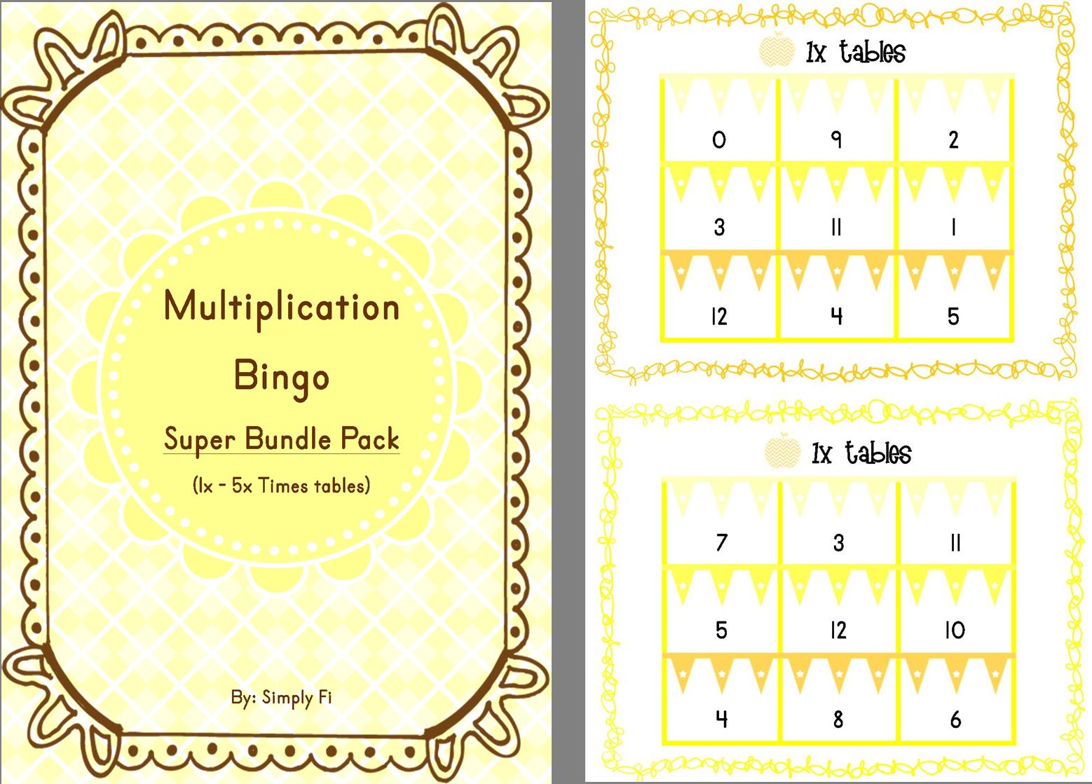 Multiplication Bingo A 5 In 1 Super Bundle That Includes