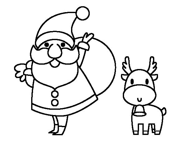 Papá Y Mamá Noel Dibujos Para Imprimir Y Colorear: Dibujo De Papá Noel Y Un Reno Para Colorear