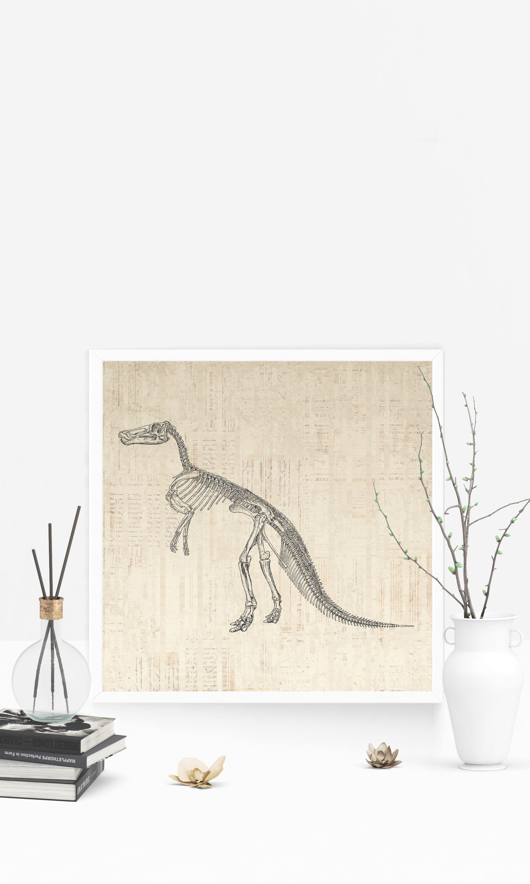 Vintage Dinosaur Skeleton Print For Wall Art & Prehistoric Home