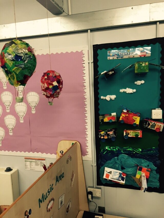 eyfs junk modelling display air transport balloons balloon classroom away paper were aliens