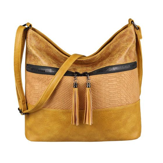 OBC bolso de mujer shopper bandolera bandolera bandolera cuero aspecto asa cruzada bolso hobo bolso bolso amarillo