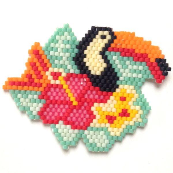 Toucan fleur brick stitch tissage de perles miyuki brickstitch - Perlenarmband basteln ...