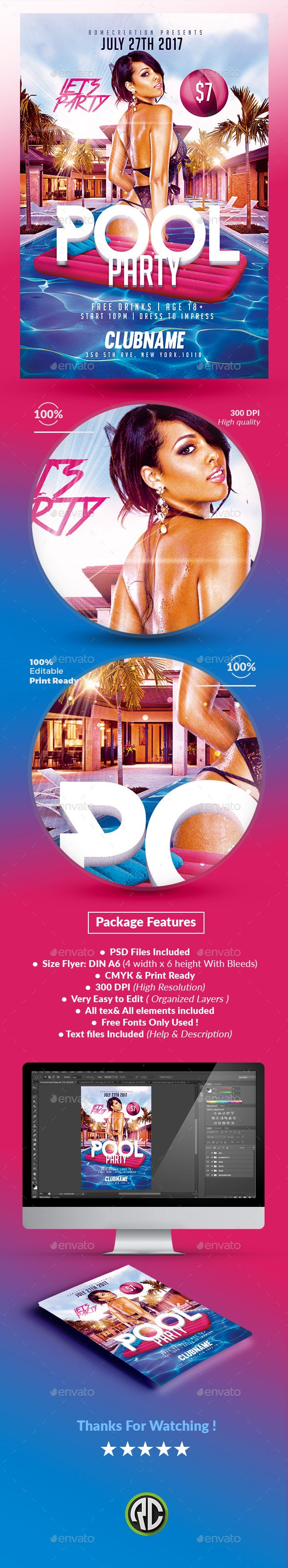 Summer Pool Party  Psd Flyer Template  Psd Flyer Templates