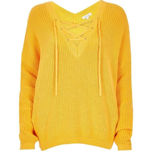 River Island Yellow lace-up sweater (93 CAD) ❤ liked on Polyvore ...
