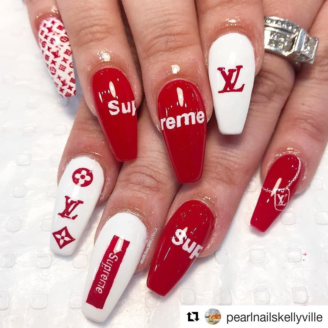 Louis Vuitton Supreme Nails Acrylic Nail Lv Pearl Nails Best Acrylic Nails Pretty Acrylic Nails