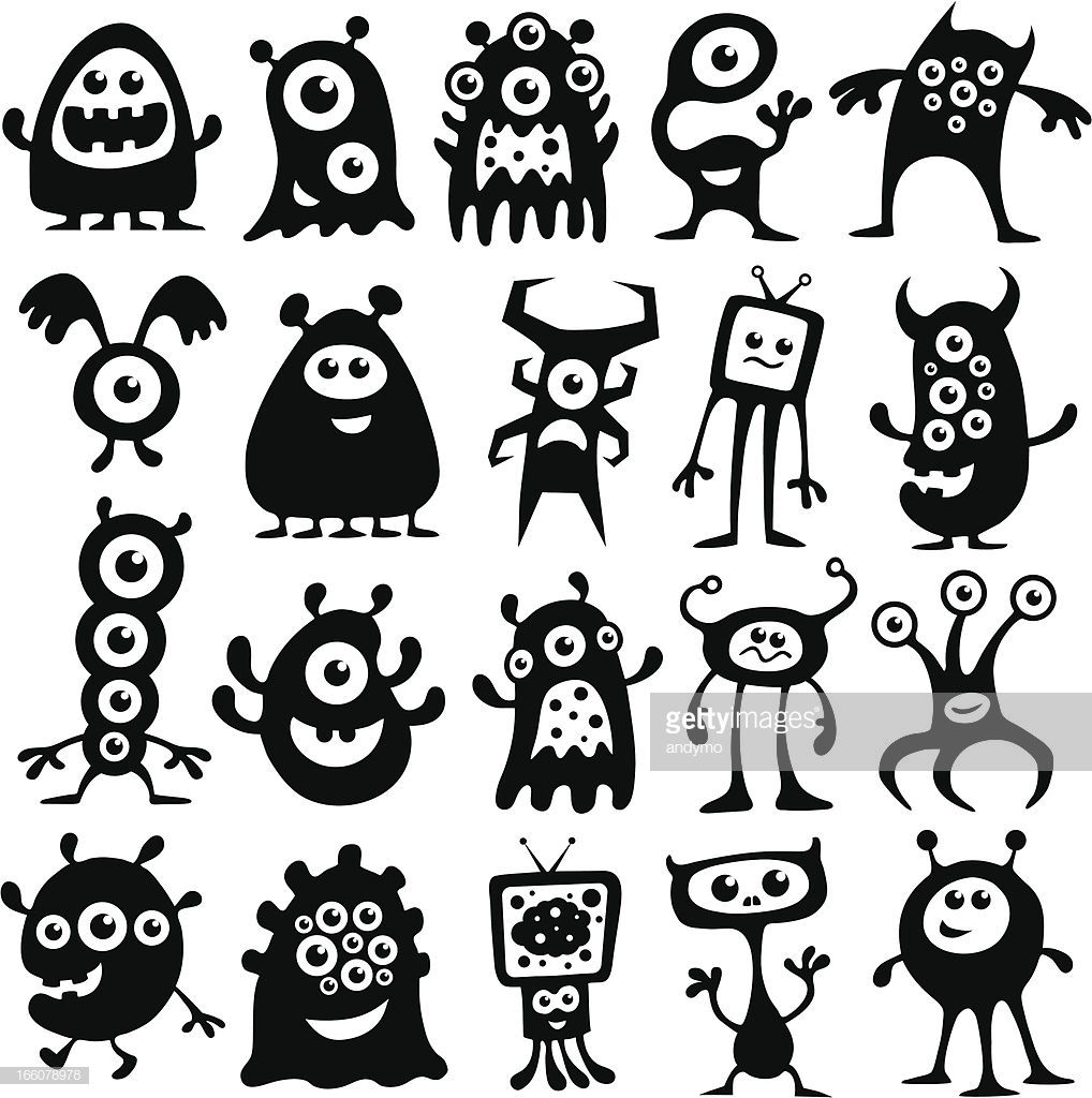A Collection Of Black And White Monsters And Aliens Monster Illustration Cute Monsters Doodle Monster