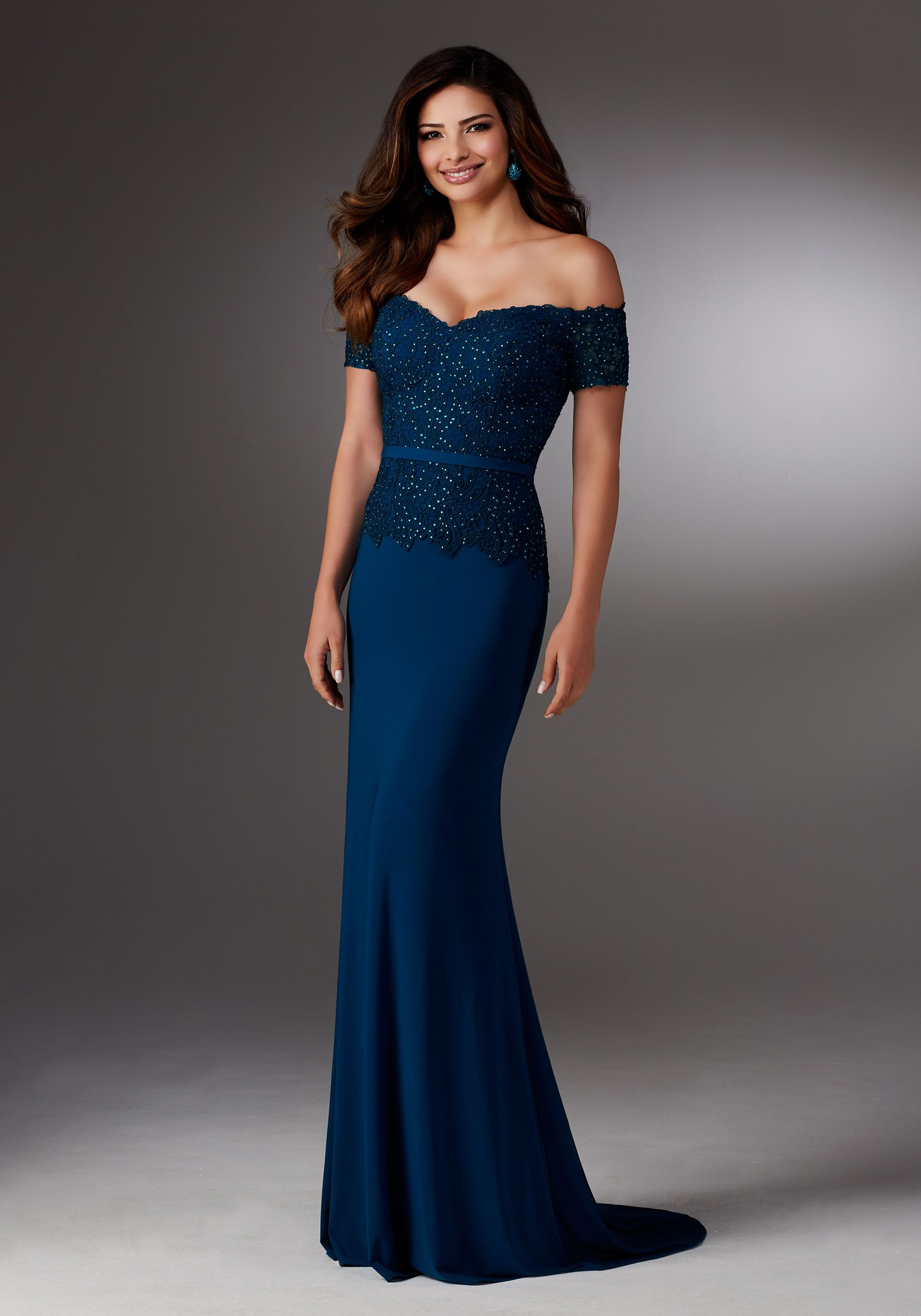 ed5ecc34d552b Evening Dresses and Mother of the Bride Dresses by Morilee. Form Fitting Jersey  Dress with Off-the-Shoulder Beaded Lace Bodice and Removable Jersey Belt.