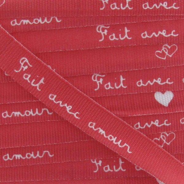"""Ruban expression """"Fait avec amour"""" rouge"""