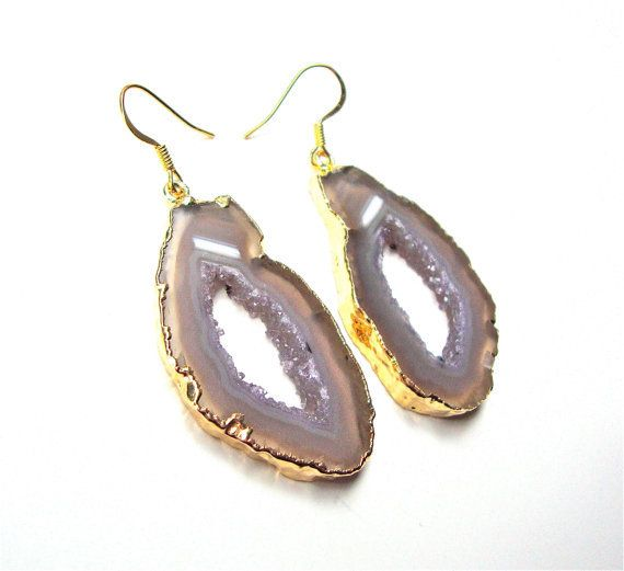 Gold Plated Agate Slice Earrings Jewelry With 14k Filled French