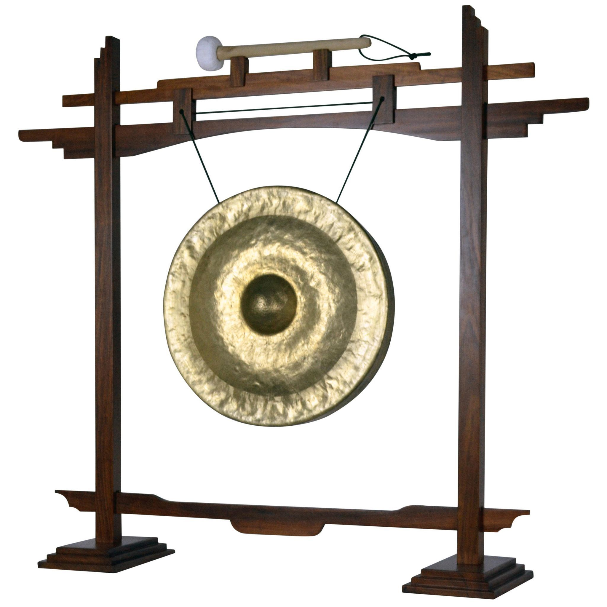 "18"" Bronze Thai Gong on Rosewood Pedestal Stand"
